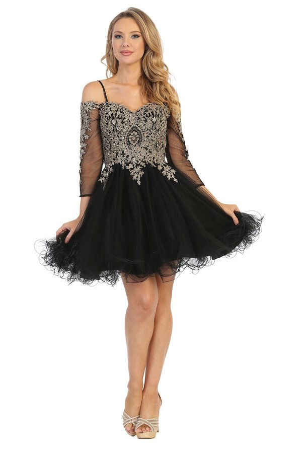 LF 6239 - 3/4 Sleeve Off the Shoulder Homecoming Dress with Embroidered Bodice & Corset Back
