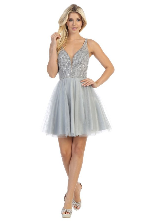 LF 6241 - A Line Homecoming Dress with Beaded V-Neck Open Lace Up Back & Tulle Skirt - Diggz Prom