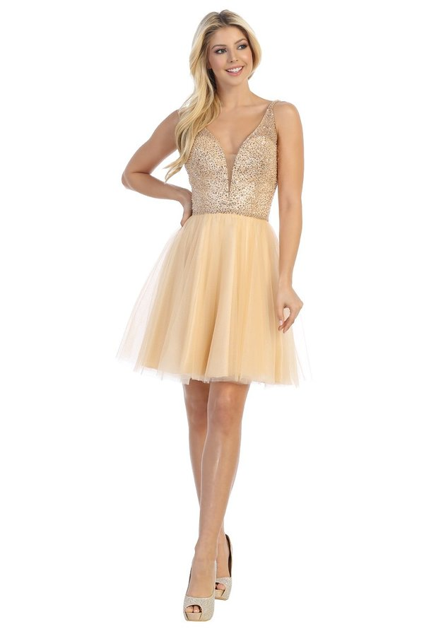 LF 6243 - A Line Homecoming Dress with V-Neck & Tulle Skirt - Diggz Prom