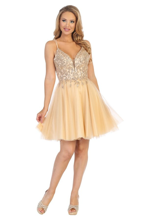 LF 6244 -A Line Homecoming Dress with V-Neck Sequin Appliqué & Tulle Skirt