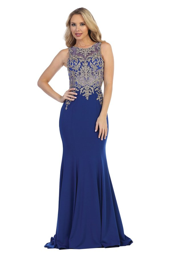 LF 7209 - Fit & Flare Gown With Delicate Gold Embellished High Neck Bodice & Train - Diggz Prom