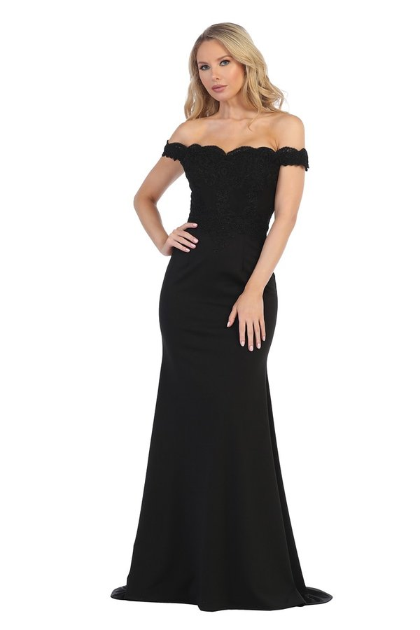 LF 7233 - Off The Shoulder Formal Gown with Laced Bodice Jersey Skirt & train - Diggz Prom