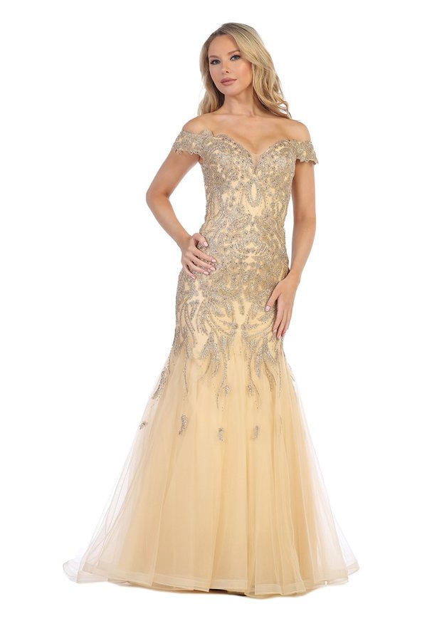 Lets Size Chart C LF 7290 - Off The Shoulder Bead Embellished Mermaid with Tulle Skirt - Diggz Prom