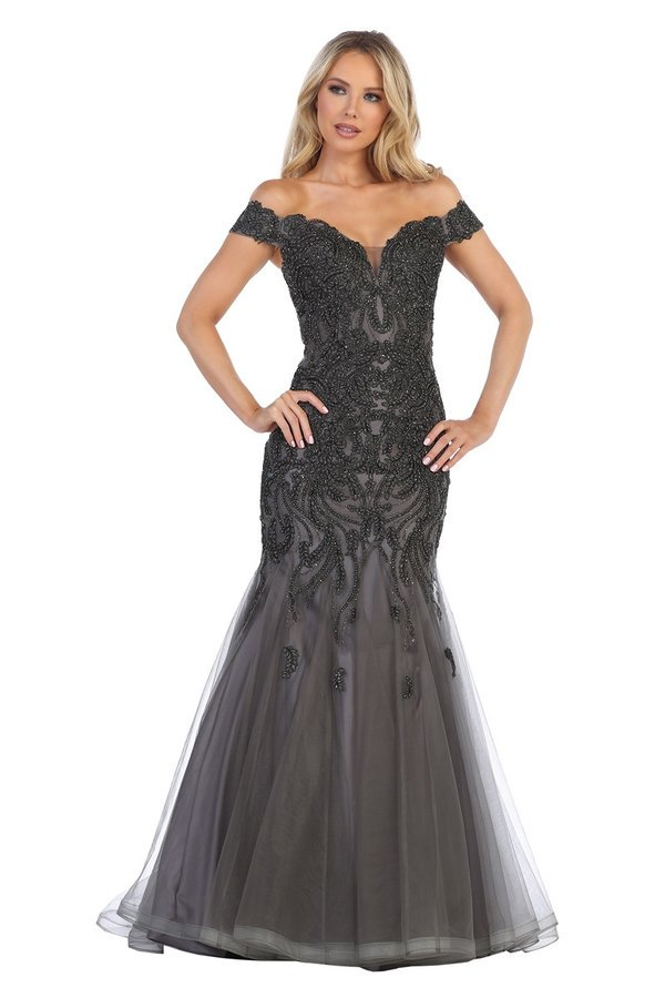 Lets Size Chart C LF 7290 - Off The Shoulder Fit & Flare Prom Gown Embellished with Beads & Applique - Diggz Prom