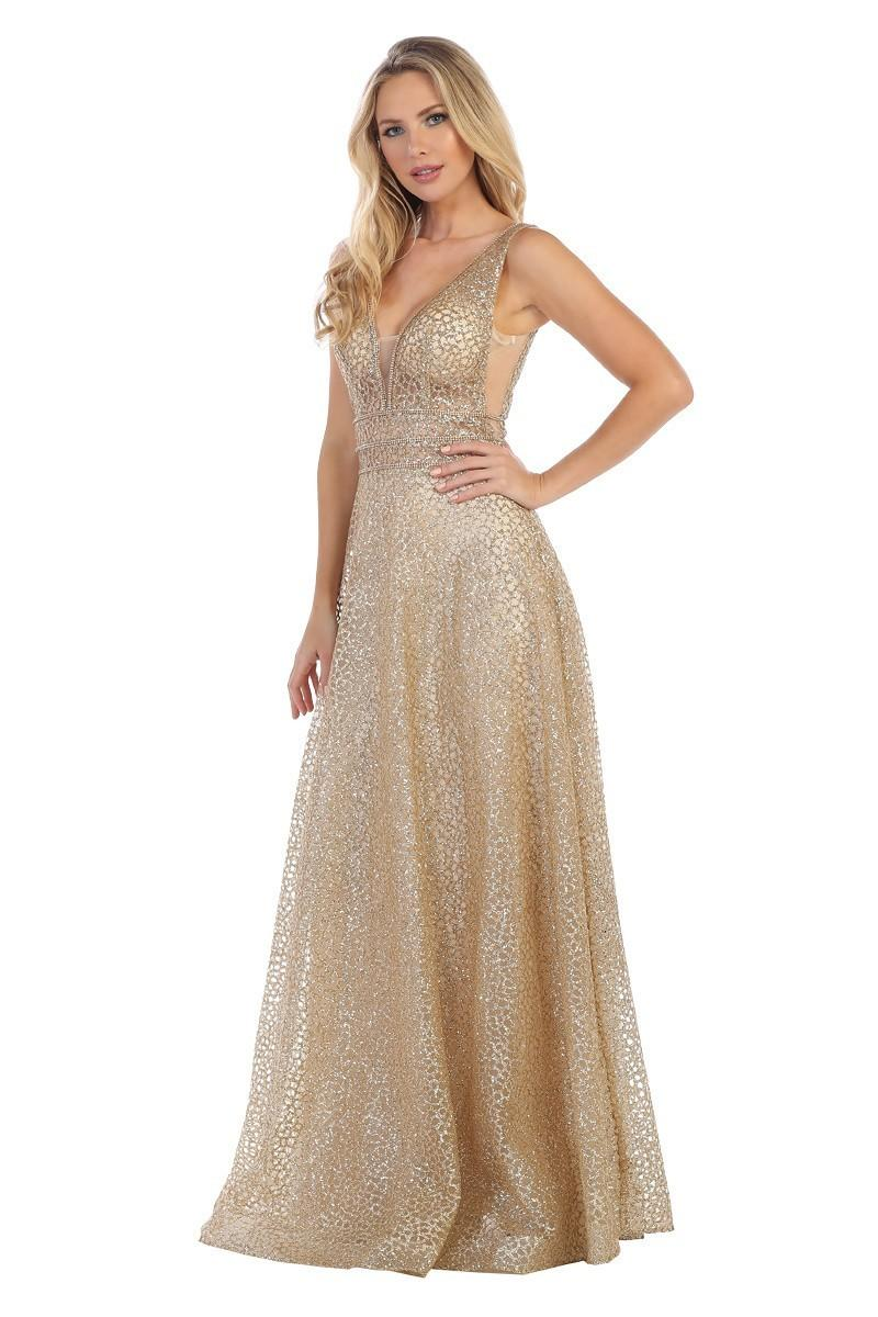 Lets Size Chart C LF 7318 - Glitter Tulle Tank A-Line with Illusion Waist - Diggz Prom