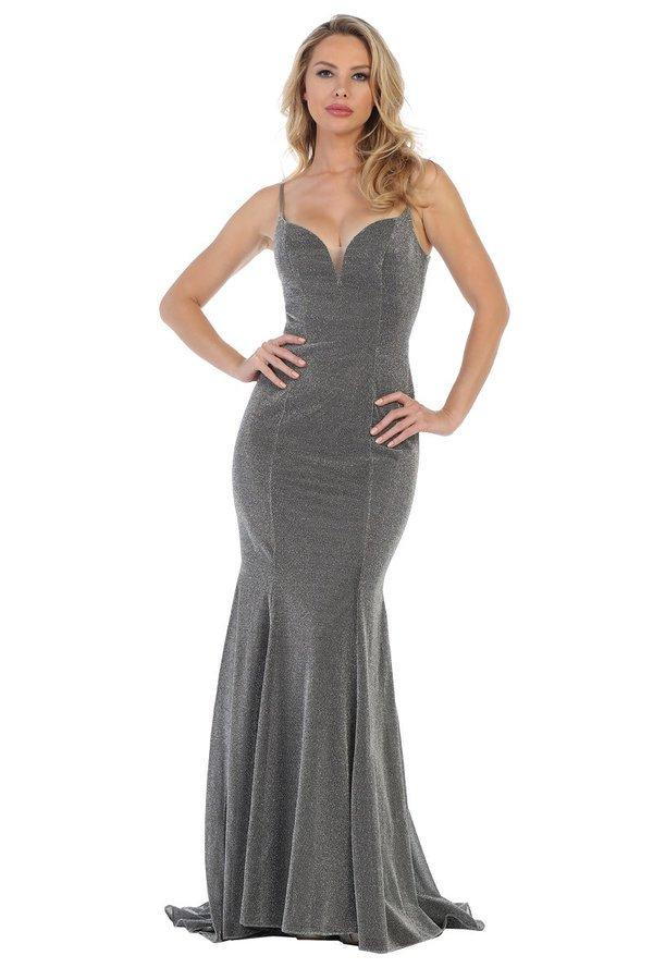 LF 7374 - Metallic Fit & Flare Prom Gown with Sweetheart Neck & Lace Up Corset Back - Diggz Prom