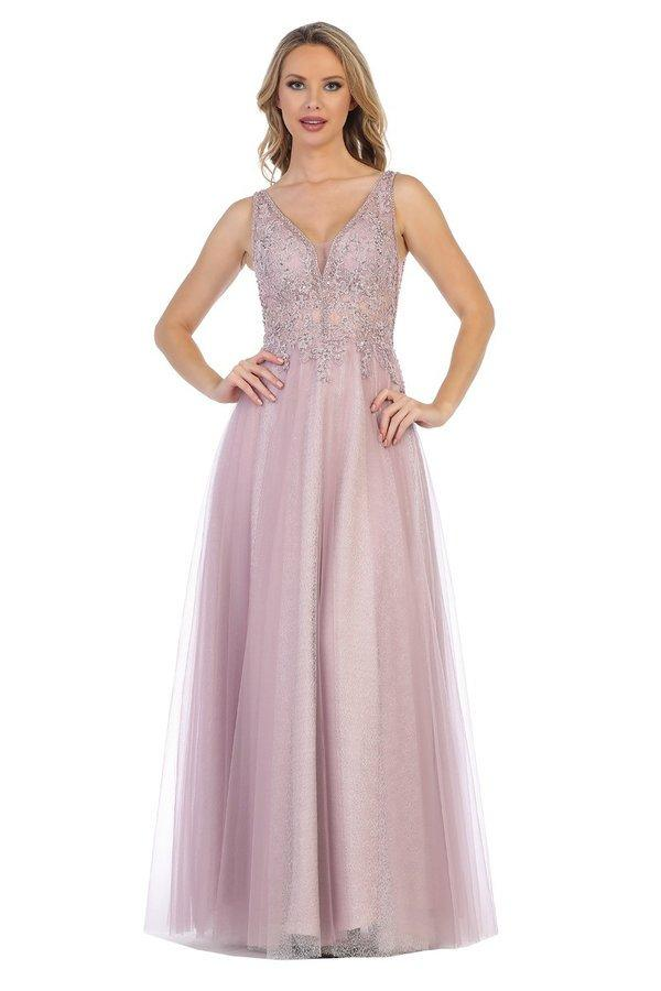 Lets Size Chart C LF 7393 - Beaded V-Neck Ballgown with Mesh Sides & Full Tulle Skirt - Diggz Prom