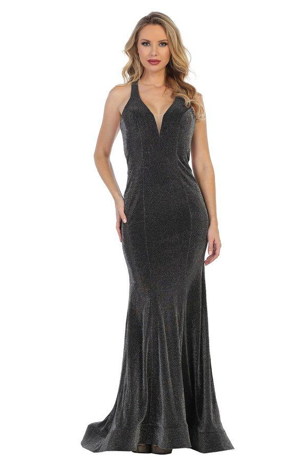 Lets Size Chart C LF 7418 - Deep-V Fit & Flare with Beaded Back Straps & Metallic Skirt - Diggz Prom