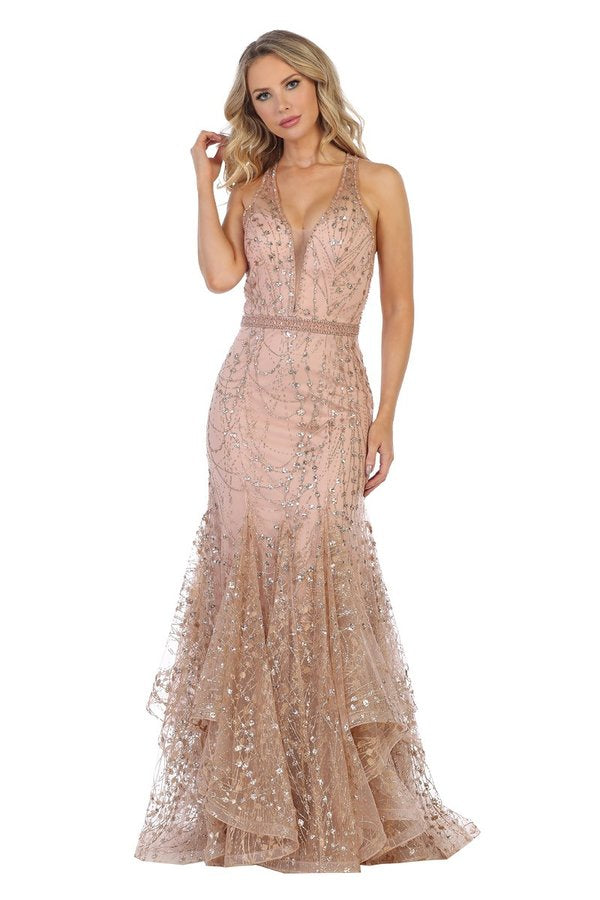 LF 7424 - Glitter Embellished Fit & Flare Prom Gown with V-Neck & Layered Ruffle Skirt - Diggz Prom