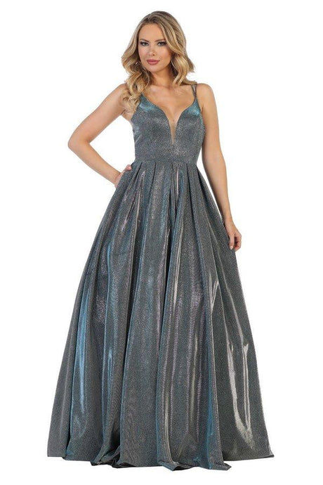 Lets Size Chart C LF 7426 - Deep-V Sweetheart Ballgown with Metallic Skirt - Diggz Prom