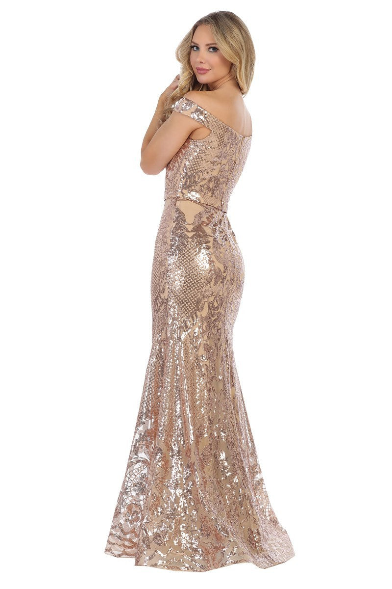 LF 7247 - Off the Shoulder Gold Sequin Fit & Flare with Art Deco Glitter Pattern & Train - Diggz Prom