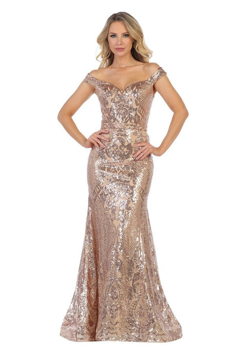 LF 7247 - Off the Shoulder Gold Sequin Fit & Flare with Art Deco Glitter Pattern & Train