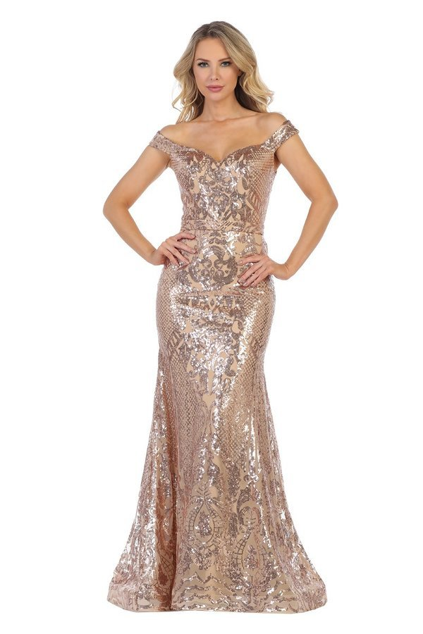 LF 7427 - Off the Shoulder Sequin Printed Fit & Flare Prom Gown with Sweetheart Neck & Belt - Diggz Prom