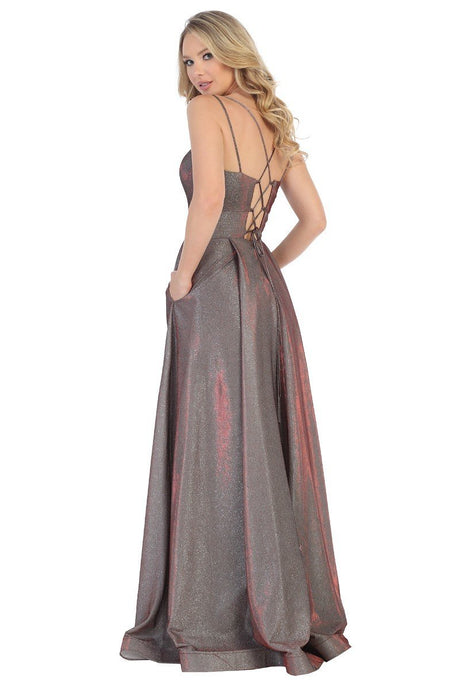 Let's Fashion LF 7501 - Metallic Sweetheart Neckline Prom Gown with Spaghetti Straps and Strappy Back - Diggz Prom