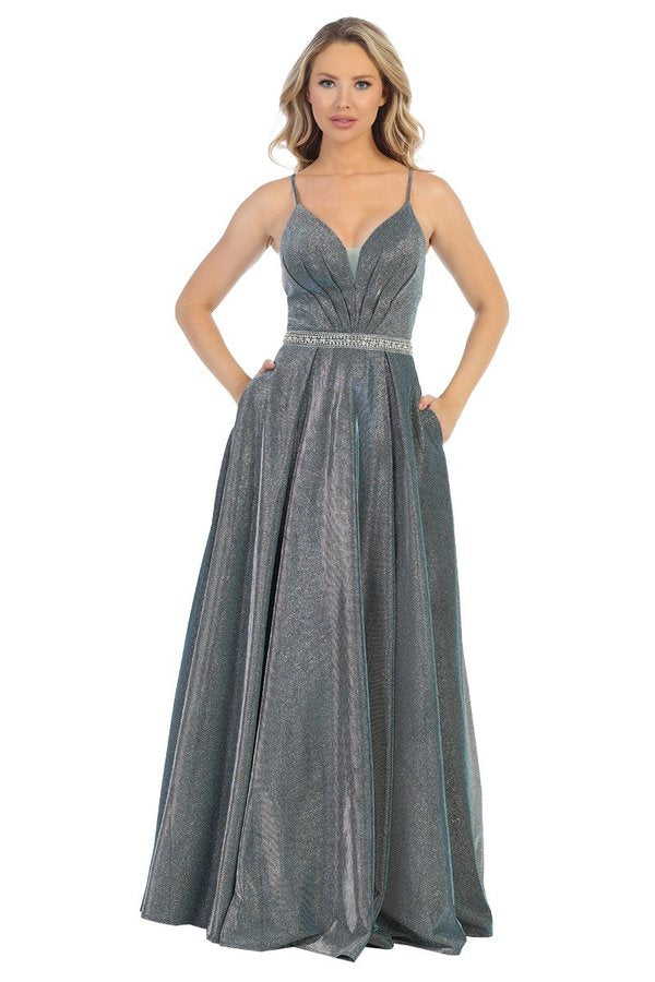 Let's Fashion LF 7502 - Metallic V-Neck Gown with Crystal Belted Waist and Open Back - Diggz Prom