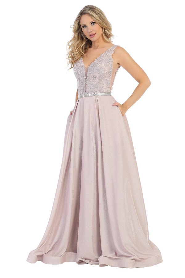 Let's Fashion LF 7504 - A-Line Shimmer Gown with Illusion Sides and V-Neck Applique Bodice - Diggz Prom