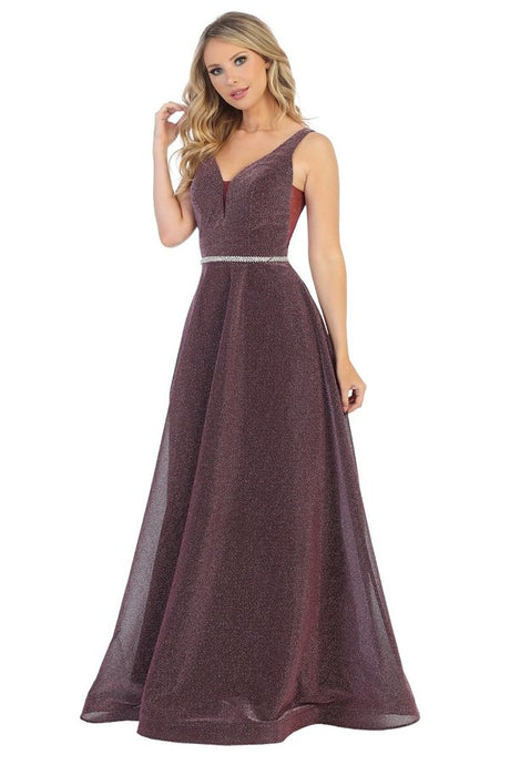 Let's Fashion LF 7505 - Shimmer A-Line Gown with Layered Sheer Skirt and Crystal Belted Waist - Diggz Prom