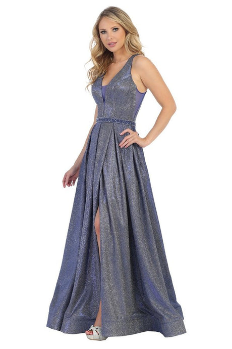 Let's Fashion LF 7510 - Metallic A-Line Prom Gown with V-Neck Sheer Side Panels Jeweled Belt & Leg Slit - Diggz Prom