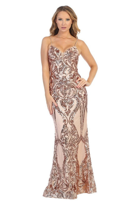 Let's Fashion LF 7539 - Long Fitted Gown with Ornate Sequin Pattern and Plunging V-Neck - Diggz Prom