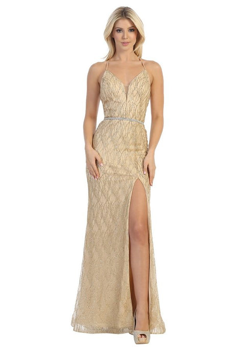 Let's Fashion LF 7543 - Long Fit and Flare Gown with Weaved Glitter Pattern and High Leg Slit - Diggz Prom