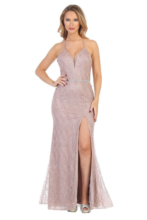 LF 7543 - Long Fit and Flare Gown with Weaved Glitter Pattern and High Leg Slit - Diggz Prom