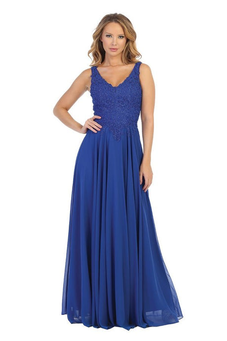 Let's Fashion LF 7544 - Long Sheath Gown with Lace Bodice and Chiffon Skirt - Diggz Prom