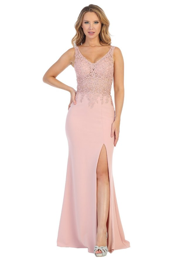 Let's Fashion LF 7549 - A-Line Fit and Flare Gown with High Leg Slit and Lace Bodice - Diggz Prom