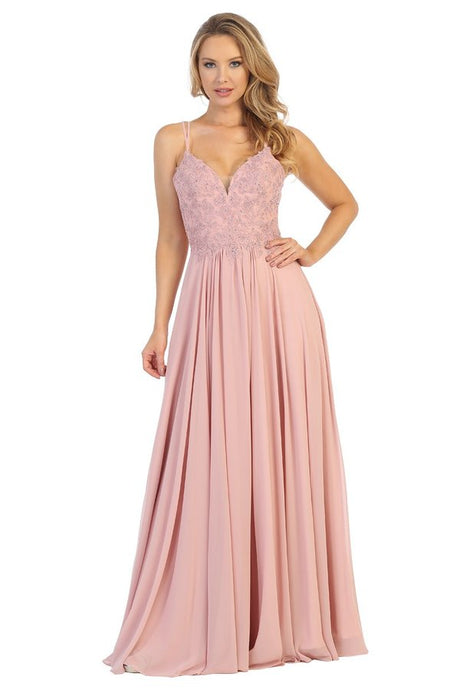 Let's Fashion LF 7550 - A-Line Gown with Sequined Designed Bodice and Corset Back - Diggz Prom