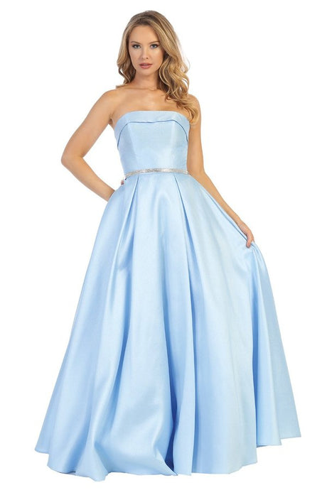 Let's Fashion LF 7551 - Strapless A-Line Ball Gown with Silver Belt and Pockets - Diggz Prom