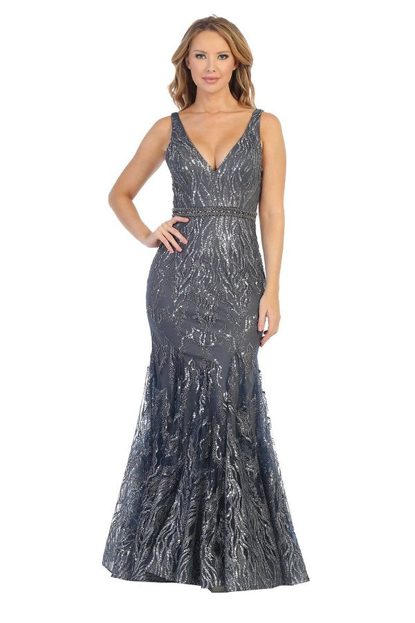 Let's Fashion LF 7552 - Fit & Flare Prom Gown with Glitter Design and V-Neck - Diggz Prom