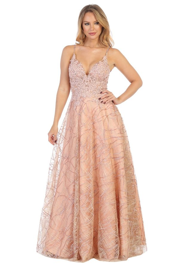 LF 7556 - A-Line Prom Gown with Sheer Floral Applique V-Neck Bodice & Tulle Skirt - Diggz Prom