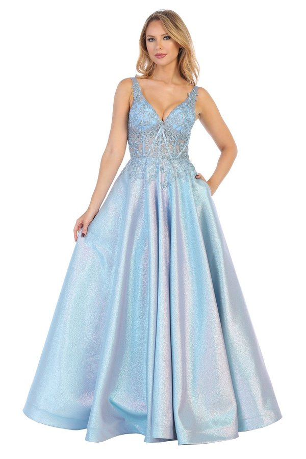 Let's Fashion LF 7558 - A-Line Metallic Ball Gown with Sheer Embroidered Bodice - Diggz Prom