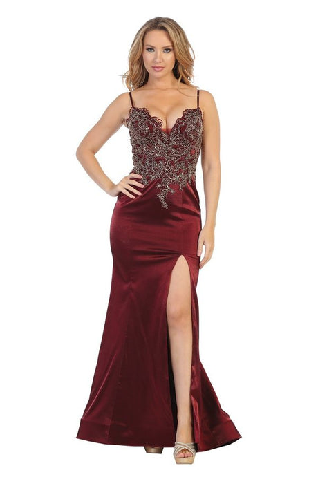 Let's Fashion LF 7562 - Sweetheart Fit and Flare with Gold Bodice Applique and Leg Slit - Diggz Prom