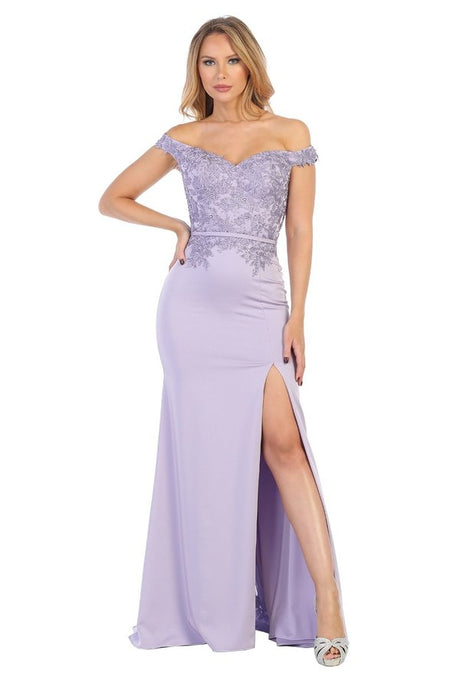 Let's Fashion LF 7565 - Off the Shoulder Fitted Jersey Gown with Lace Applique on Bodice and Leg Slit - Diggz Prom
