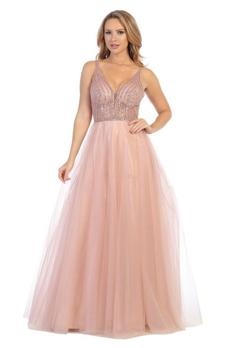 Let's Fashion LF 7578 - A-Line Tulle Ball Gown with Beaded Bodice and Lace Up Back. - Diggz Prom