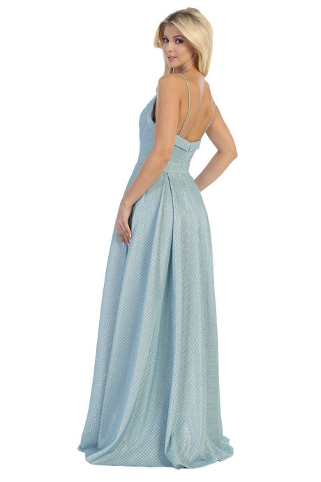 Let's Fashion LF 7587 - A-Line ball gown with plunging neckline and high leg slit. - Diggz Prom