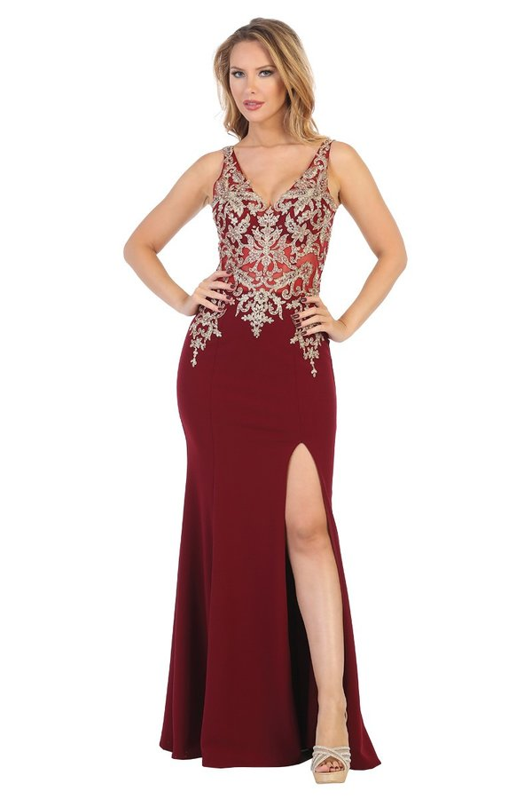 Let's Fashion LF 7590 - Jersey Fitted Gown with Sheer Gold Bodice Applique and High Slit - Diggz Prom