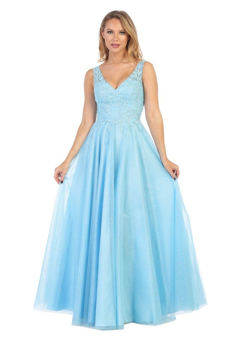 Let's Fashion LF 7592 - Long A-Line Gown with Lace Bodice and Shimmer Tulle Skirt - Diggz Prom