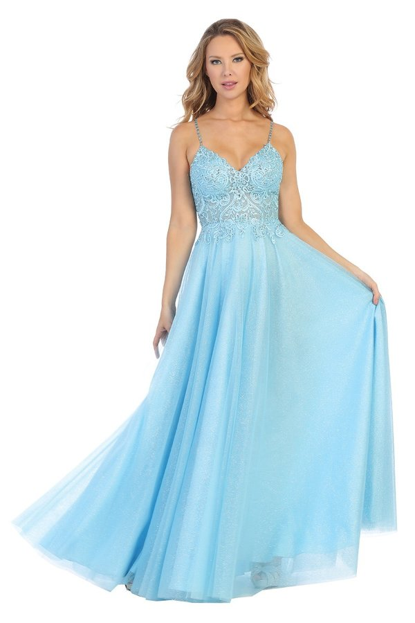 Let's Fashion LF 7595 - Long A-Line Gown with Sparkle Tulle Skirt and Illusion Lace Bodice - Diggz Prom