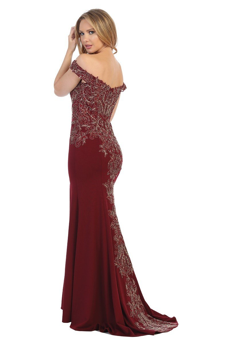 LF 7599 - Off the Shoulder Fit & Flare Prom Gown with Embroidered Bodice & Leg Slit - Diggz Prom