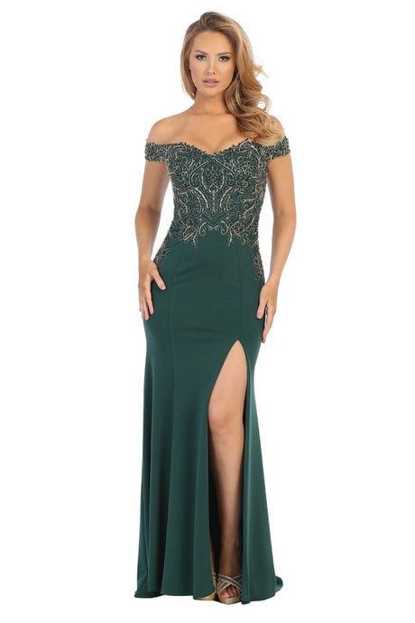 Lets Size Chart C LF 7599L - Off the Shoulder Fitted Gown with Gold Embroidery and Leg Slit - Diggz Prom