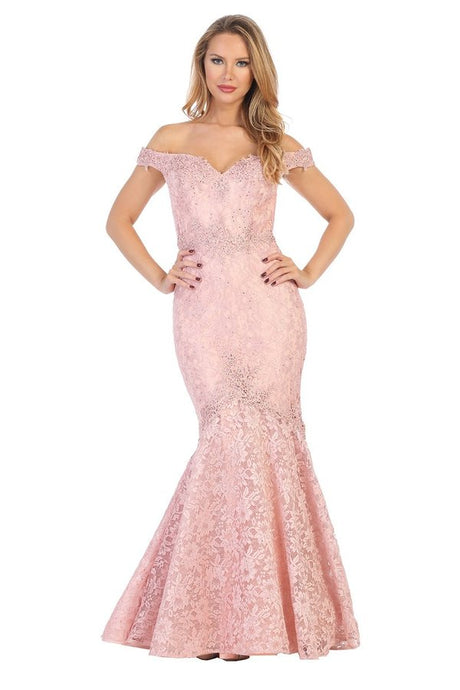 Let's Fashion LF 7600 - Off The Shoulder Fit and Flare Lace Gown with Sweetheart Neckline - Diggz Prom
