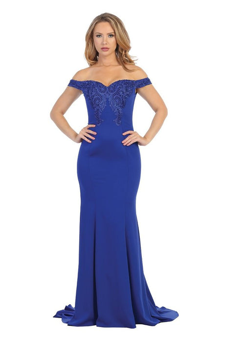 Lets Size Chart C LF 7605L - Off the Shoulder Fitted Gown with Embroidery Detail Down the Back - Diggz Prom