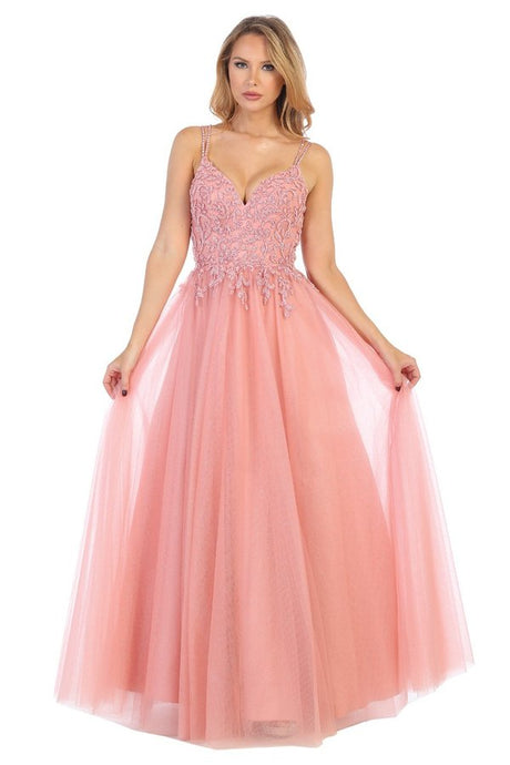 Let's Fashion LF 7619 - A-Line Gown with Embellished Bodice and Tulle Layered Skirt. - Diggz Prom