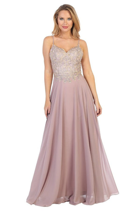 Let's Fashion LF 7623 - A-Line Gown with Embroidered Bodice and Open Back. - Diggz Prom