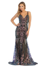 LF 7628 - Iridescent Art Deco Patterned Fit & Flare Prom Gown with V-Neck & Open Lace Up Corset Back - Diggz Prom