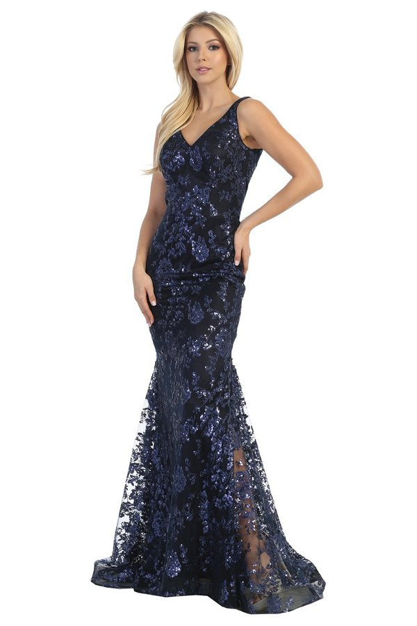 LF 7629L - Fit and flare prom gown with V-neck and glitter embellished design. - Diggz Prom