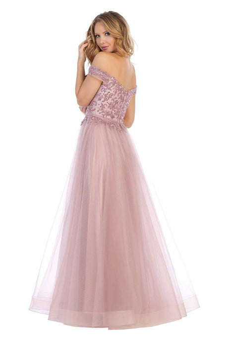 Let's Fashion LF 7630L - Off the shoulder A-line prom gown with beaded bodice. - Diggz Prom