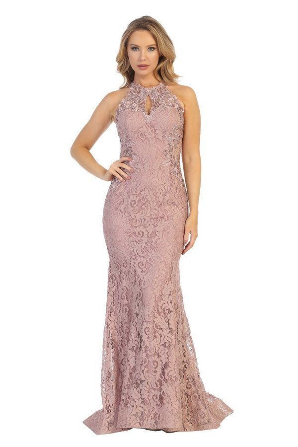 LF 7632L - Lace Embellished Fit & Flare with Key Hole Neck & Strappy Open Back - Diggz Prom