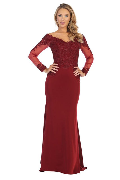 Let's Fashion LF 7637L - Long Fit & Flare Gown with Long Lace Sleeves and Lace Train - Diggz Prom